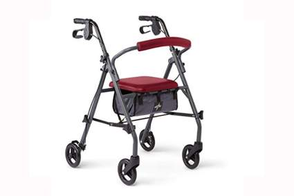 red four wheel walker with seat bag