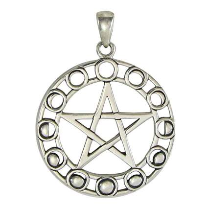 silver pentacle charm showing phases of the moon
