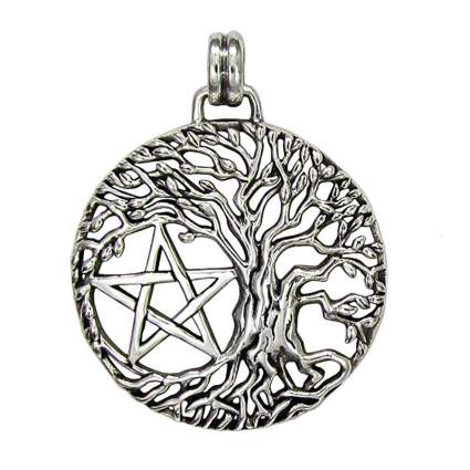 silver tree of life pendant with star