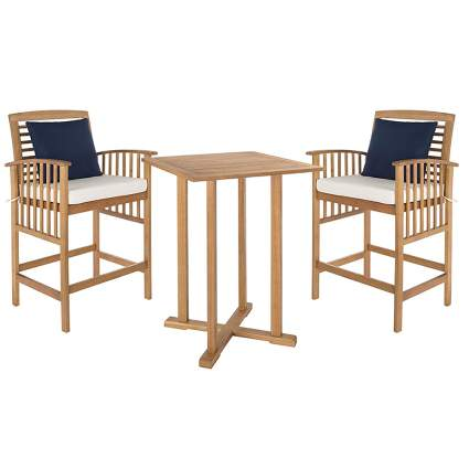 natural teak bar height bistro set