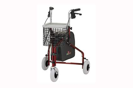 red three wheel rollator walker