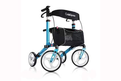blue aluminum folding rollator walker