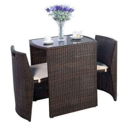 outdoor wicker bistro patio set