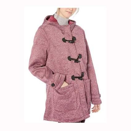 heathered burgundy fleece toggle jacket