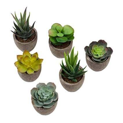 potted faux succulents in grey pots