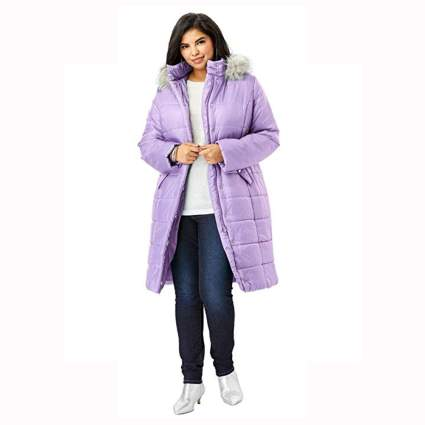 lilac midi quilted parka with faux fur hood