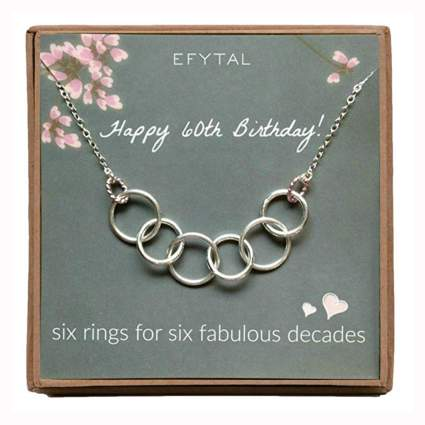 sterling silver six ring necklace