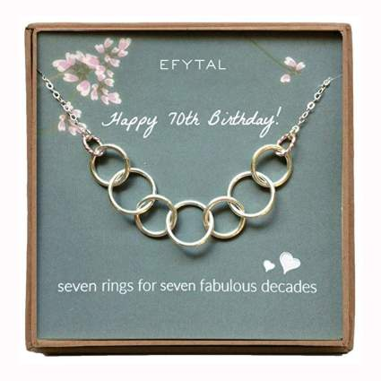 sterling silver seven ring necklace