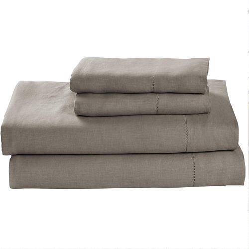 Stone & Beam Belgian Flax Linen Sheet Set, Breathable and Durable, King, Smoke
