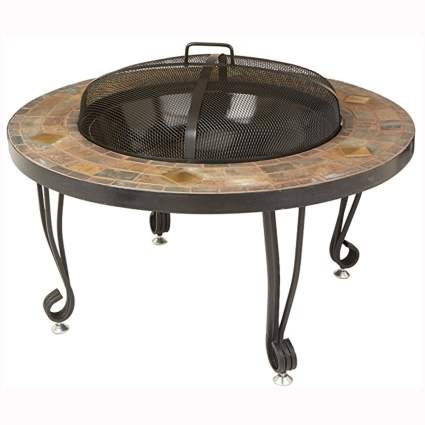 black and stone patio fire pit