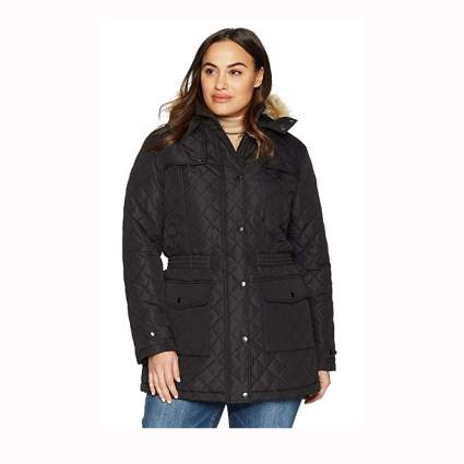 black plus size quilted jacket