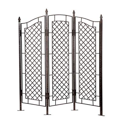 three panel wrought iron privacy screen