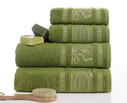 ixirhome Turkish Bamboo Towel Set,%70 Bamboo%30 Turkish Cotton