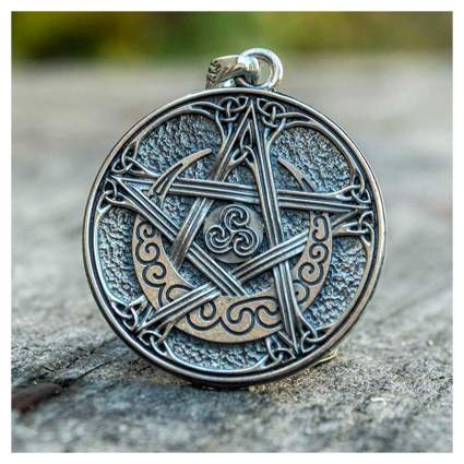 Celtic knot pentacle charm with crecent moon