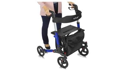 blue folding rollator walker