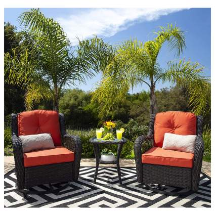 wicker rocker outdoor bistro set