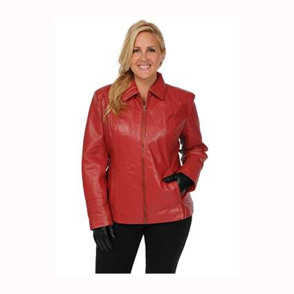 women's red leather bomber jacket