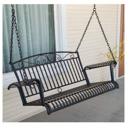 wrought iron hanging porch swing