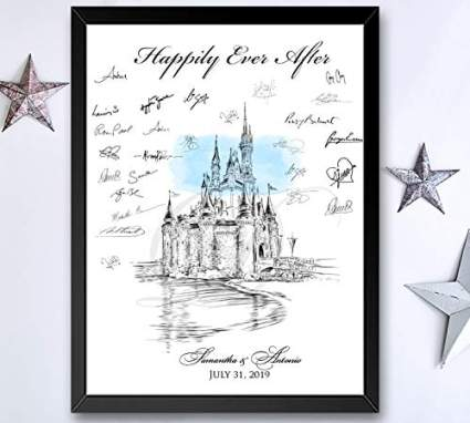Disney World Castle Fairytale Wedding Guest Book Alternative