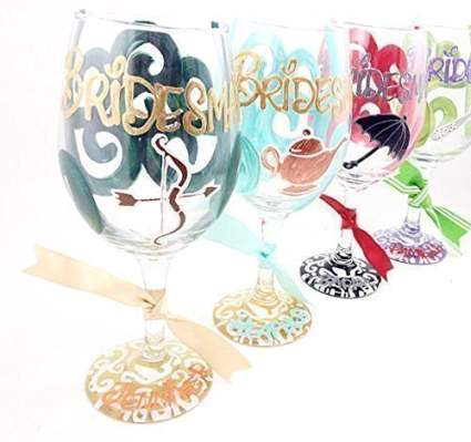 Hand Painted - Free Personalization - Your choice of Disney princess Bridal party glass