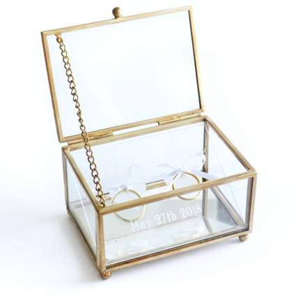 Personalized Glass Ring Box