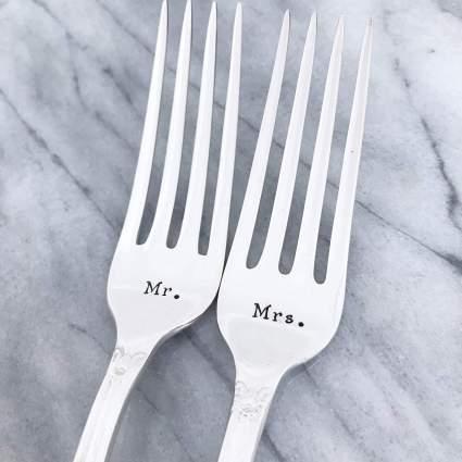 Mr. & Mrs. forks, hand stamped vintage wedding set