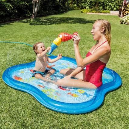 Intex Inflatable Square Fish Aquarium Baby Kiddie Spray Pool