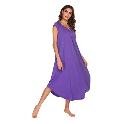 Purple long bamboo nightgown