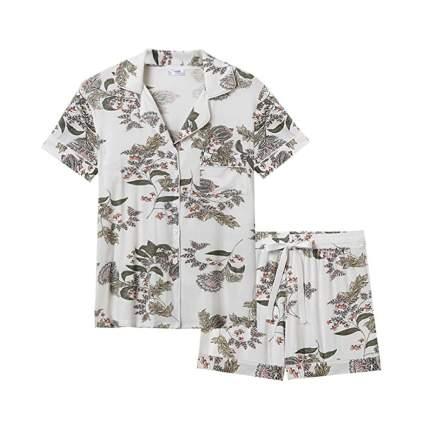 print bamboo shorts pajamas