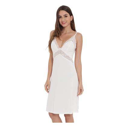 lace trimmed bamboo slip dress nightgown