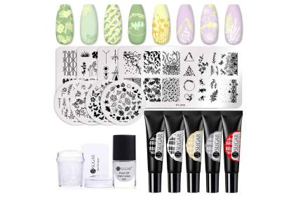 Stamping polish with plates