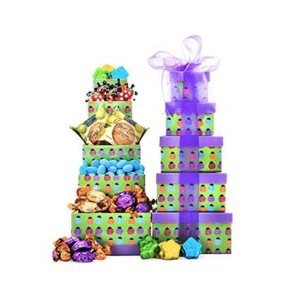 Tower of easter gift boxes with bow
