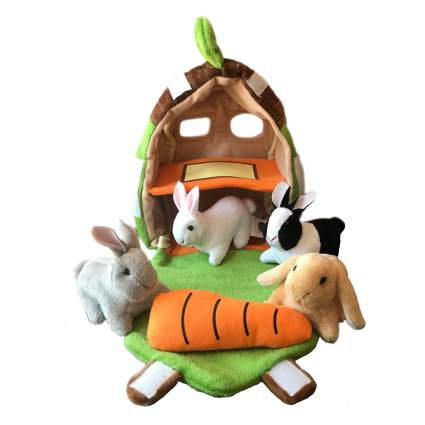Mini rabbit hutch plush toy
