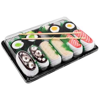 Box of socks shaped like sushi