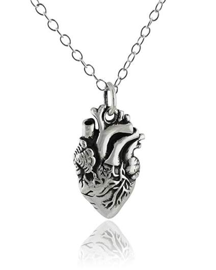 Sterling Silver Lifelike Anatomical Heart Pendant Necklace