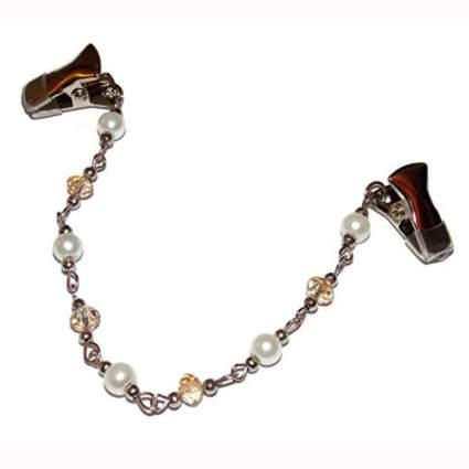 silver tone beaded chain sweater clip