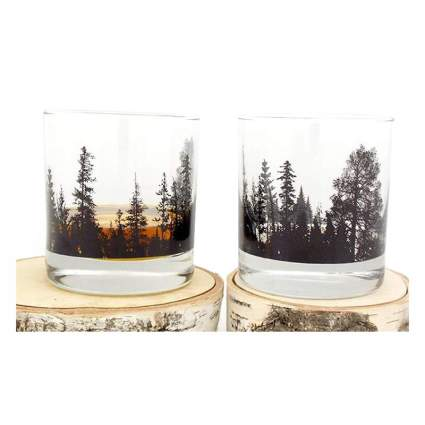 Tumbler glasses with forest outline
