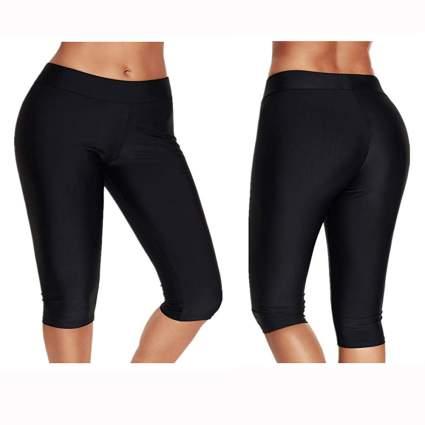 black mid rise crop swim leggings
