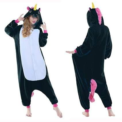 black unicorn onesie