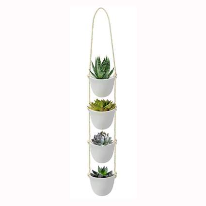 cascading white succulent pots with rope hanger