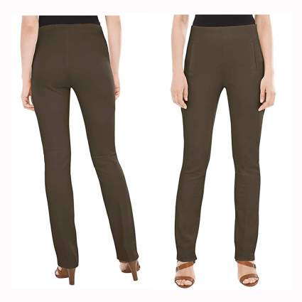 olive straight leg slimming pants