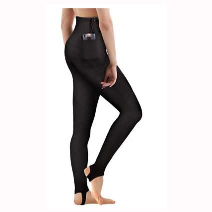 black neoprene snorkeling leggings