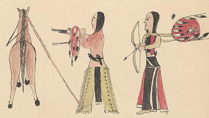 Comanche-Cheyenne wearing leggings