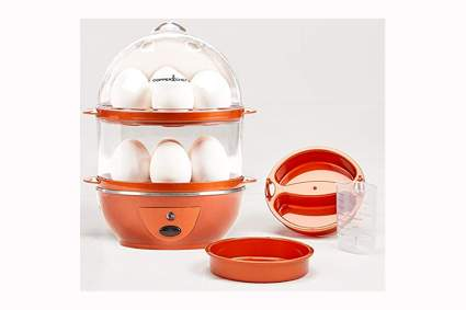 copper colored electric egg cooker