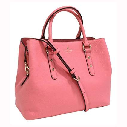 coral color kate spade leather handbag