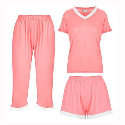 coral three piece bamboo pajama set