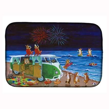 corgi beach party dish drying mat