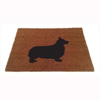 tan and black corgi silhouette doormat