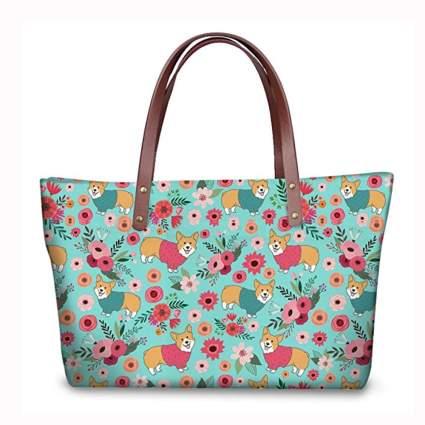 bright corgi print tote bag
