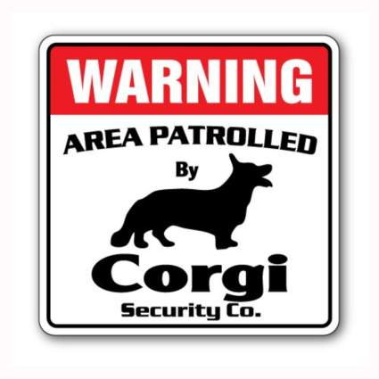 red and black corgi security sign